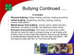 bullying continued