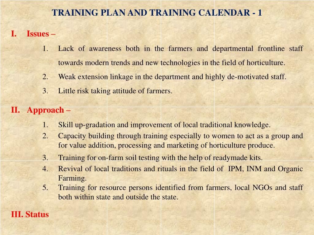 TRAINING PLAN AND TRAINING CALENDAR - 1