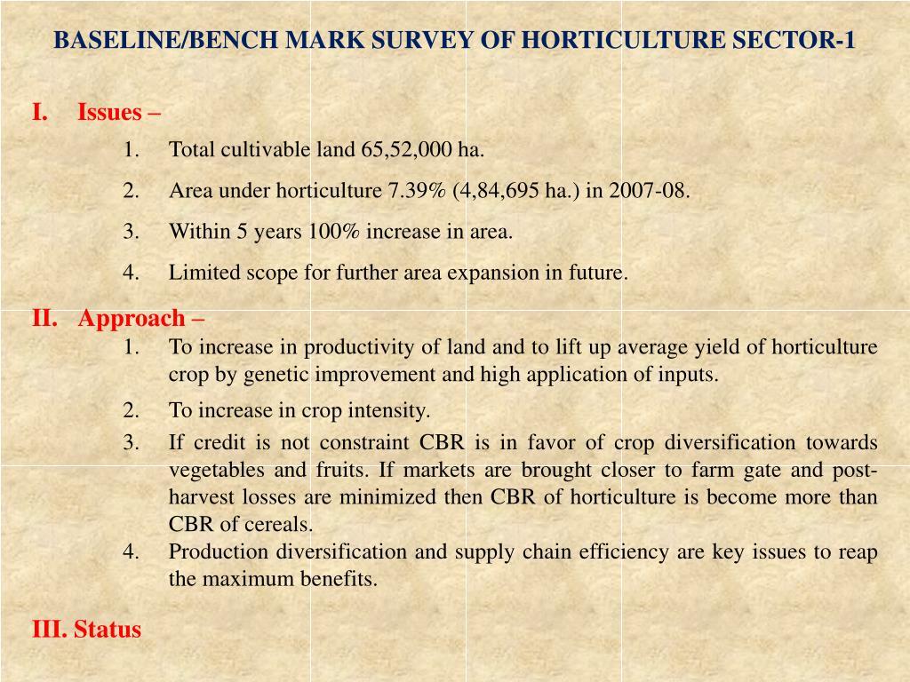 BASELINE/BENCH MARK SURVEY OF HORTICULTURE SECTOR-1