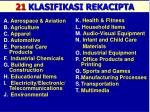 21 classifications of invention