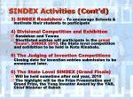 sindex activities cont d