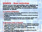 sindex main activities