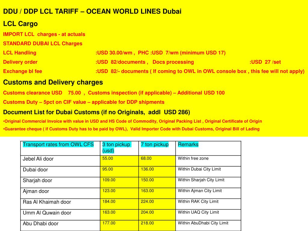 DDU / DDP LCL TARIFF – OCEAN WORLD LINES Dubai
