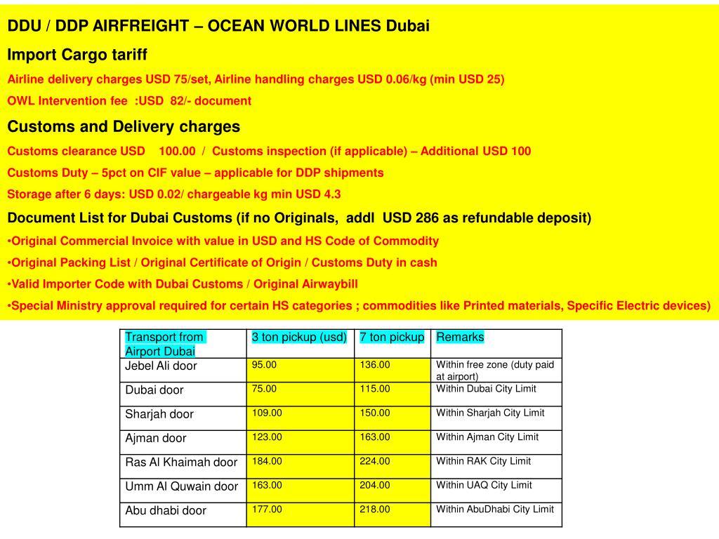 DDU / DDP AIRFREIGHT – OCEAN WORLD LINES Dubai