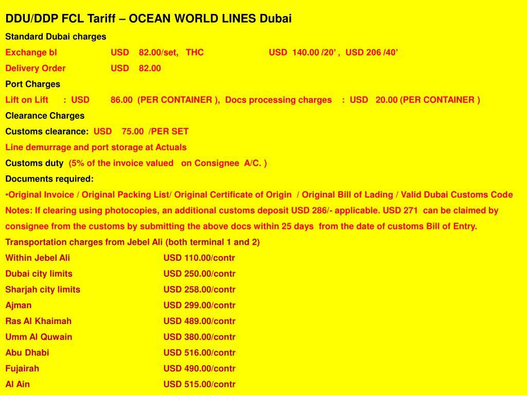 DDU/DDP FCL Tariff – OCEAN WORLD LINES Dubai