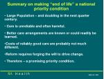 summary on making end of life a national priority condition