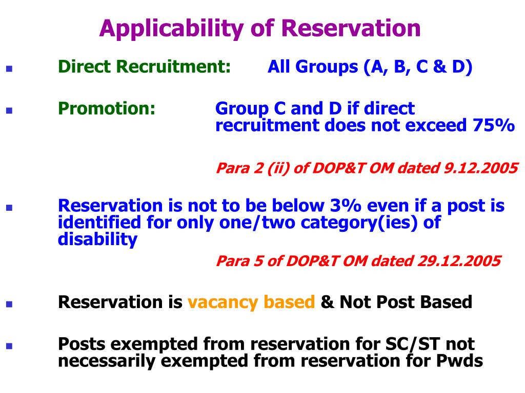 Applicability of Reservation