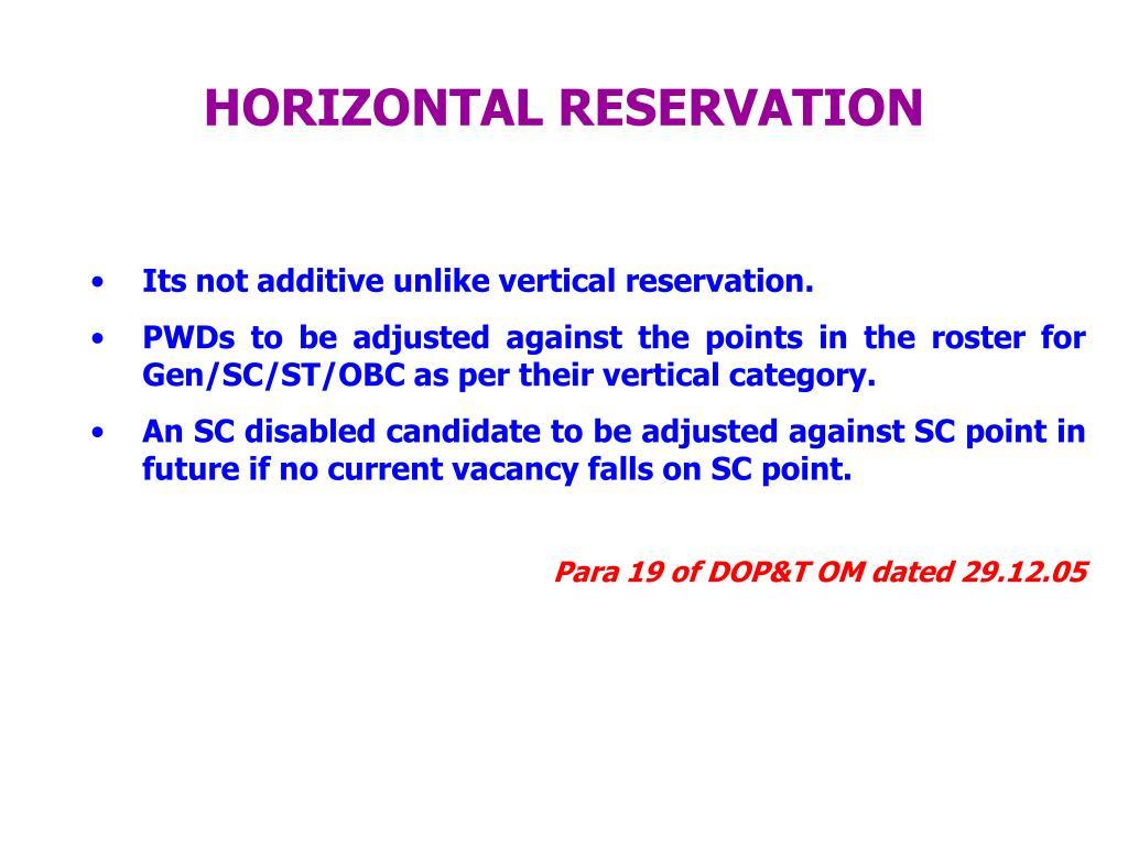 HORIZONTAL RESERVATION