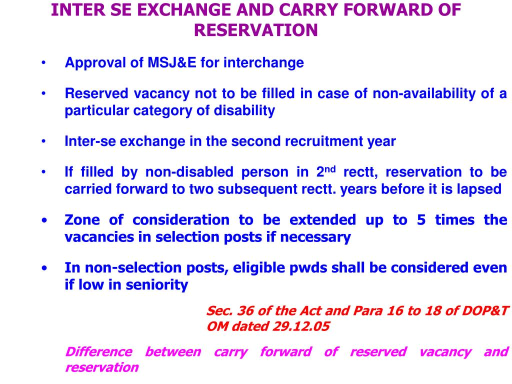 INTER SE EXCHANGE AND CARRY FORWARD OF RESERVATION