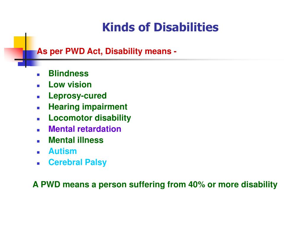 Kinds of Disabilities