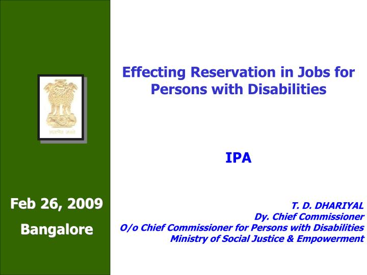 Effecting Reservation in Jobs for