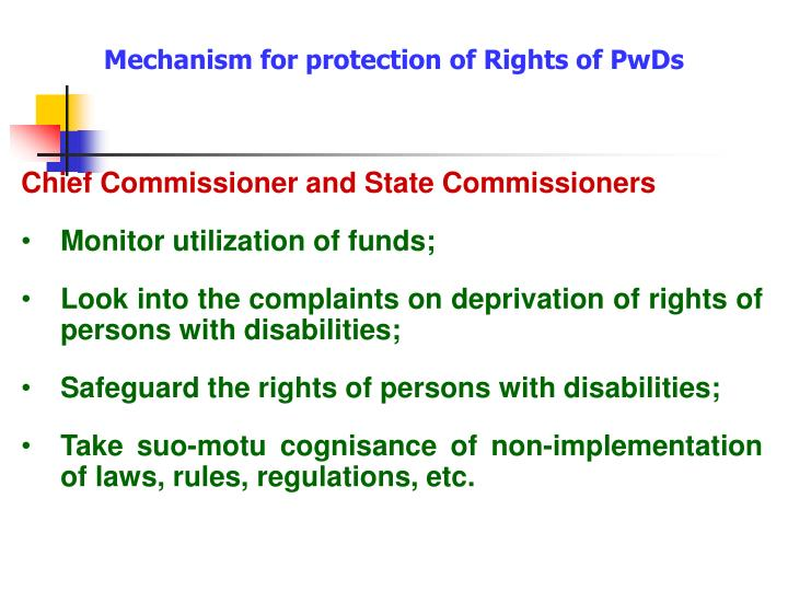 Mechanism for protection of Rights of PwDs