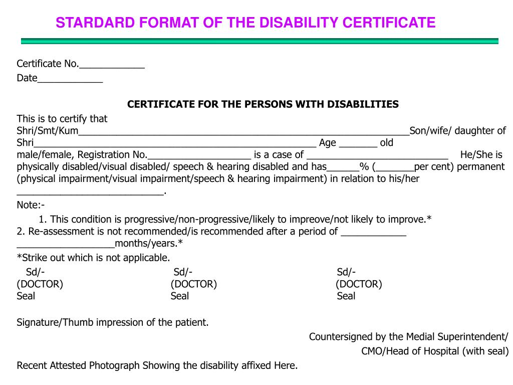 STARDARD FORMAT OF THE DISABILITY CERTIFICATE