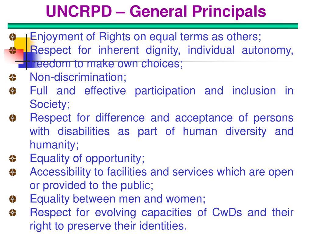 UNCRPD – General Principals