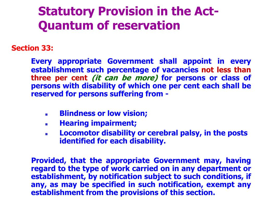 Statutory Provision in the Act-Quantum of reservation