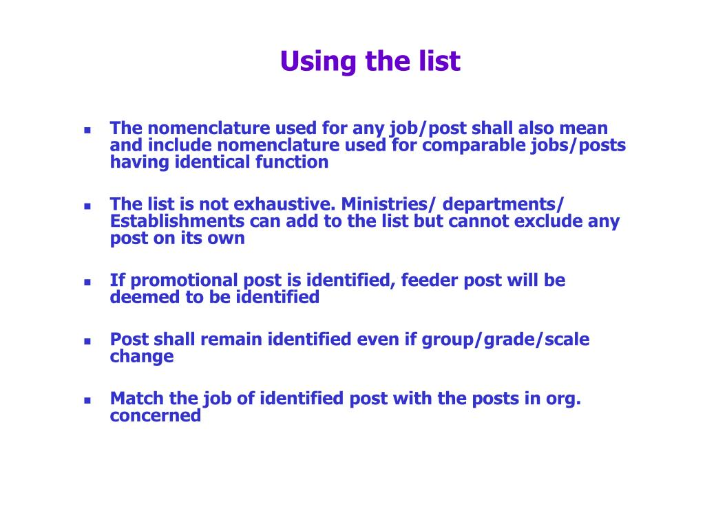 Using the list