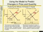 using the model to predict changes in price and quantity1
