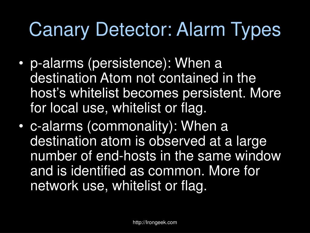 Canary Detector: Alarm Types