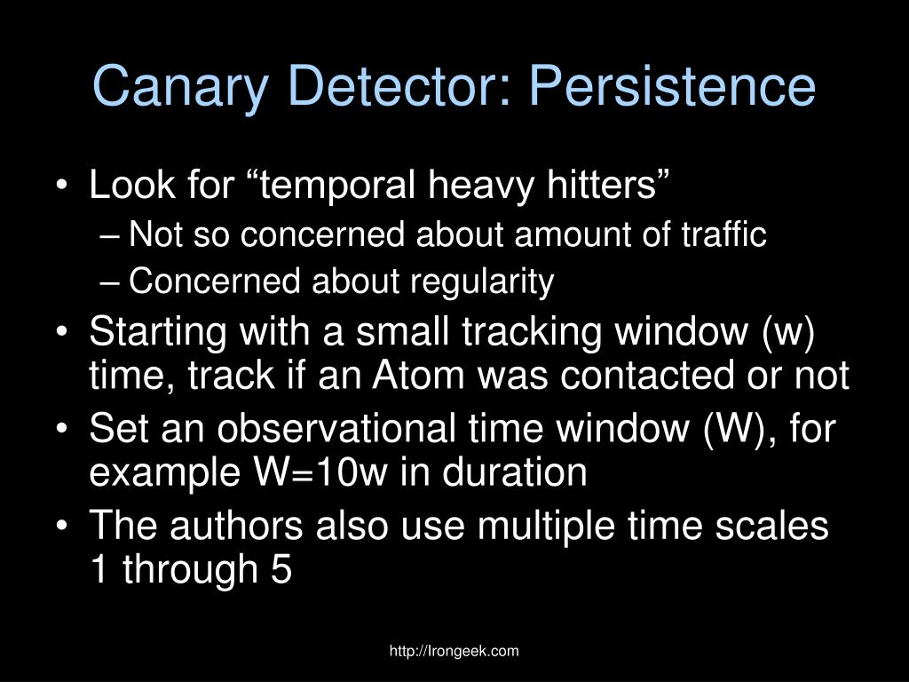 Canary Detector: Persistence