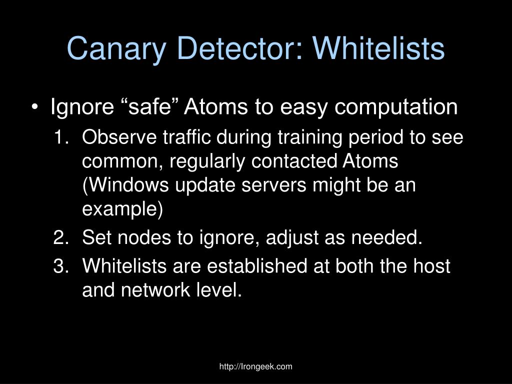 Canary Detector: Whitelists