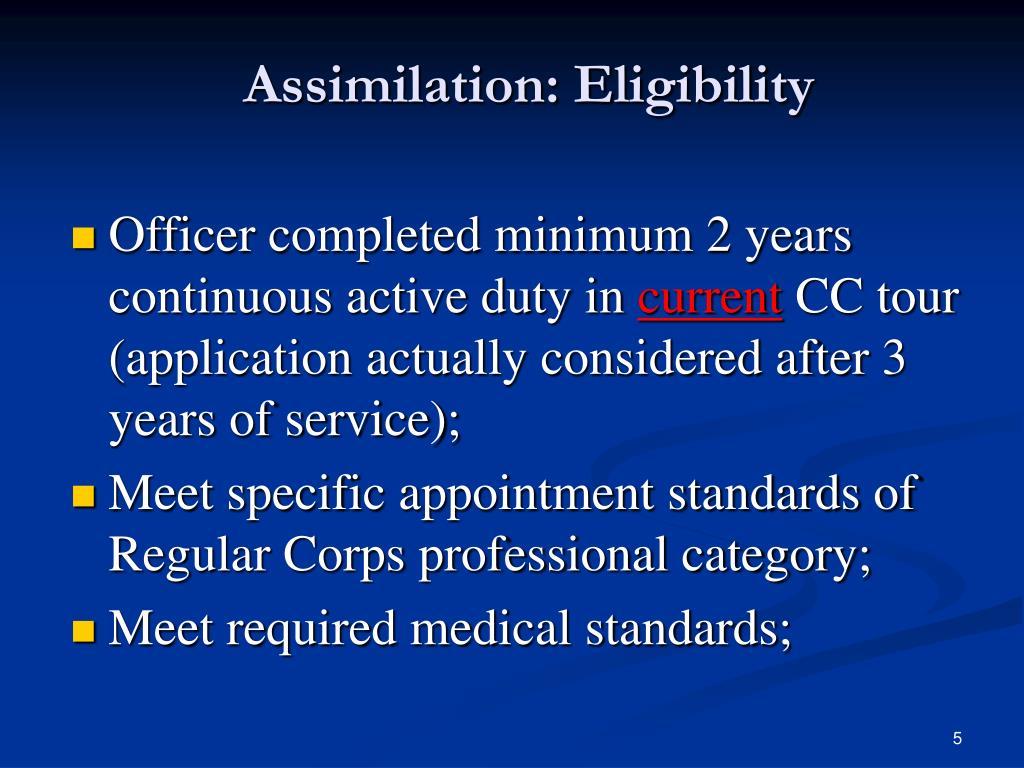 Assimilation: Eligibility