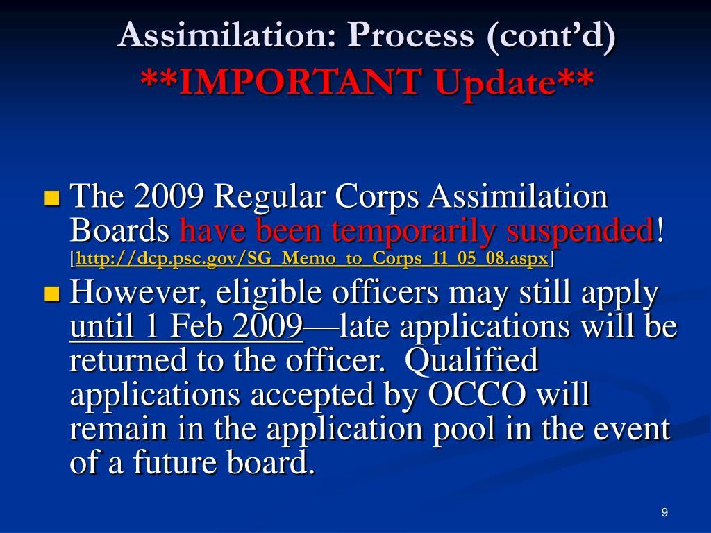 Assimilation: Process (cont'd)