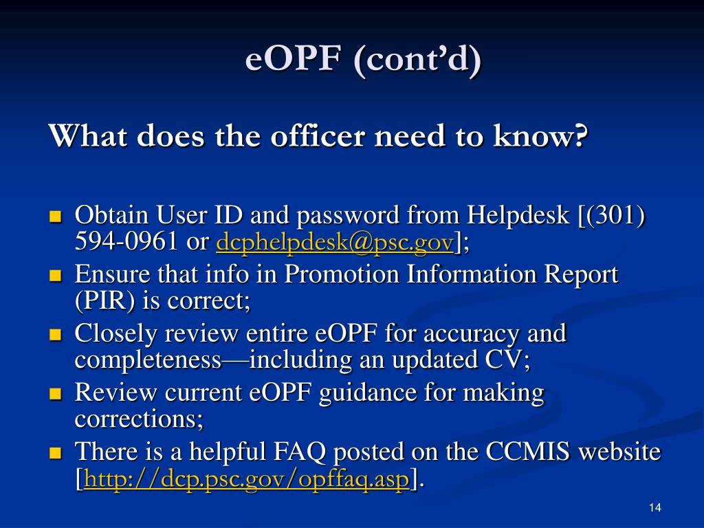 eOPF (cont'd)
