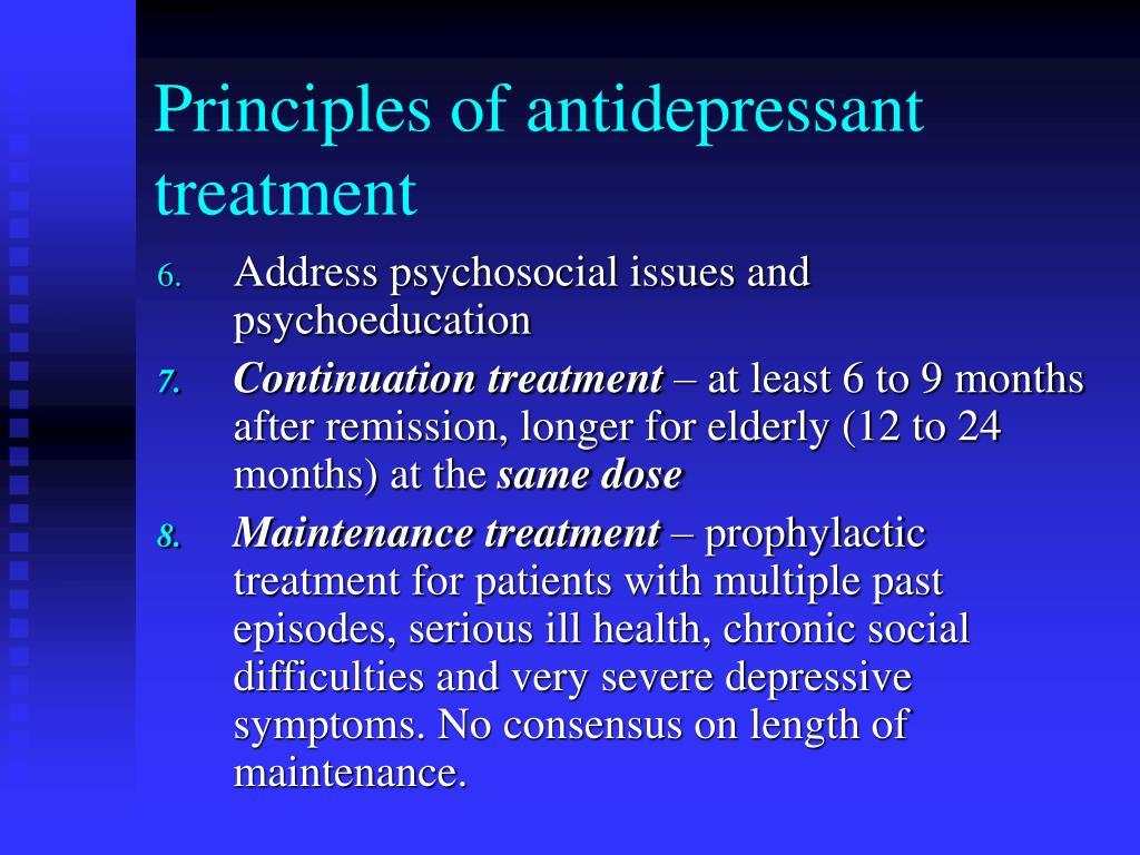 Principles of antidepressant treatment