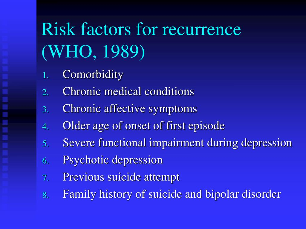 Risk factors for recurrence (WHO, 1989)