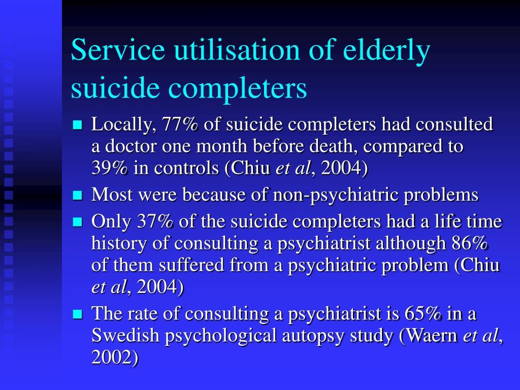 Service utilisation of elderly suicide completers