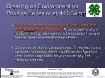 creating an environment for positive behavior at 4 h camp11
