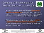 creating an environment for positive behavior at 4 h camp15