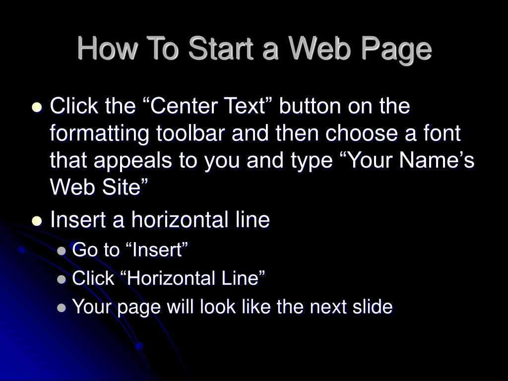 How To Start a Web Page