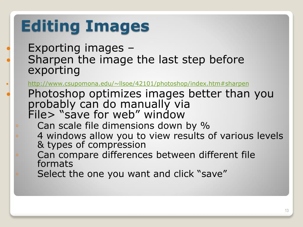 Exporting images –