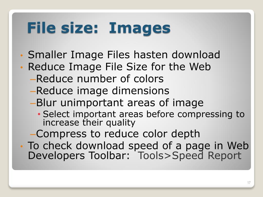 Smaller Image Files hasten download