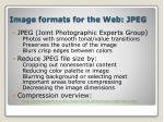 image formats for the web jpeg