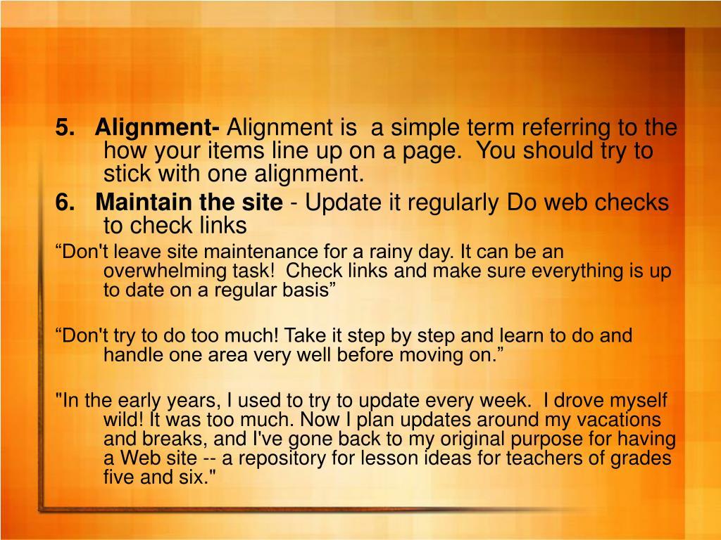 5.   Alignment-