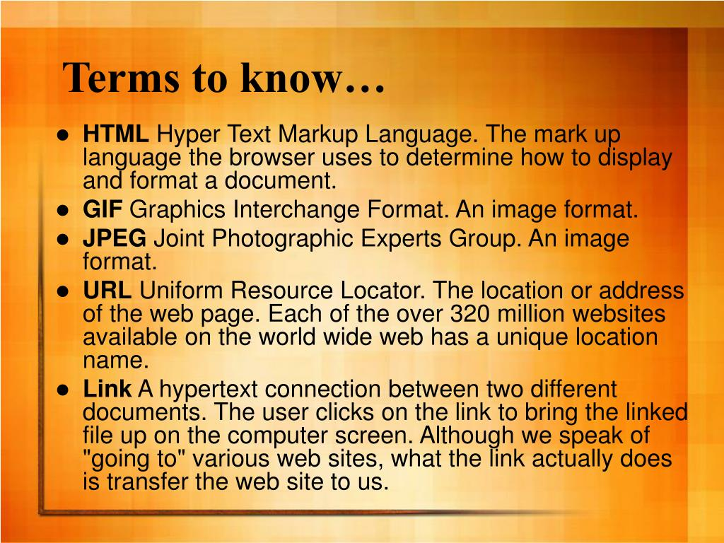 Terms to know…