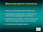 measuring patients experience