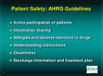 patient safety ahrq guidelines