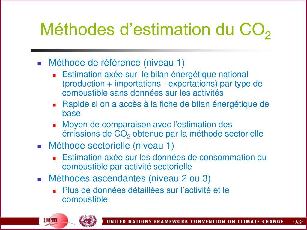 Méthodes d'estimation du CO