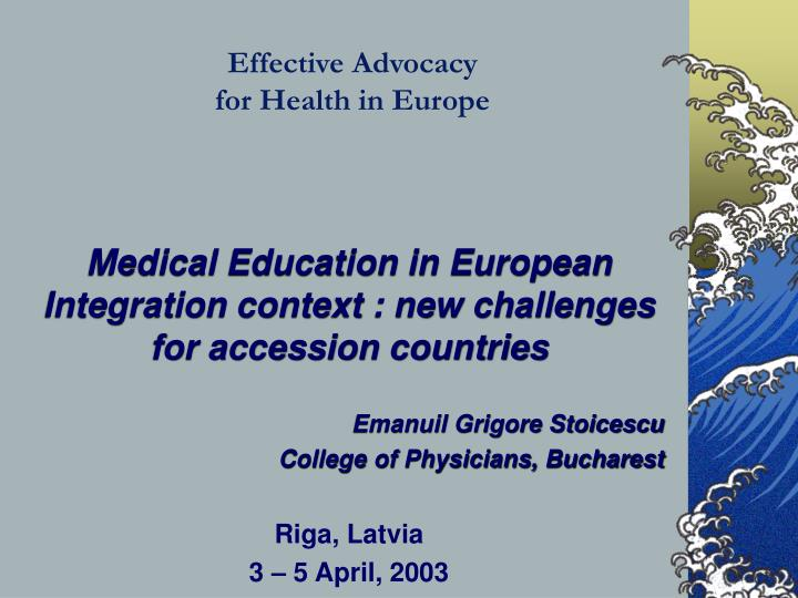 Effective advocacy for health in europe
