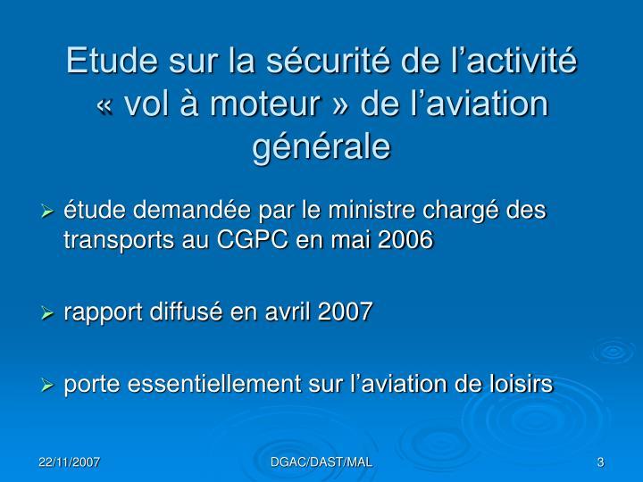Etude sur la s curit de l activit vol moteur de l aviation g n rale
