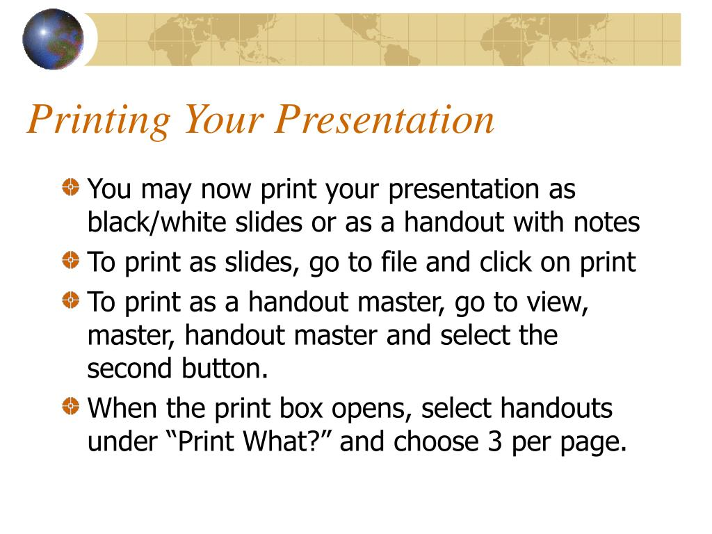Printing Your Presentation