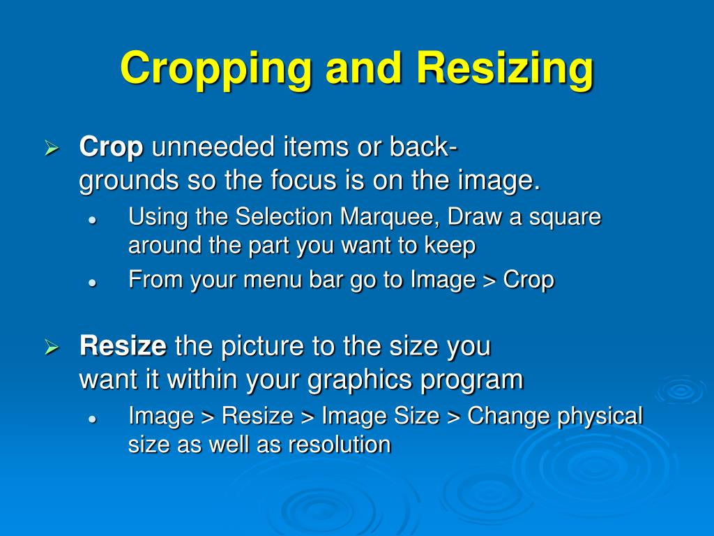 Cropping and Resizing