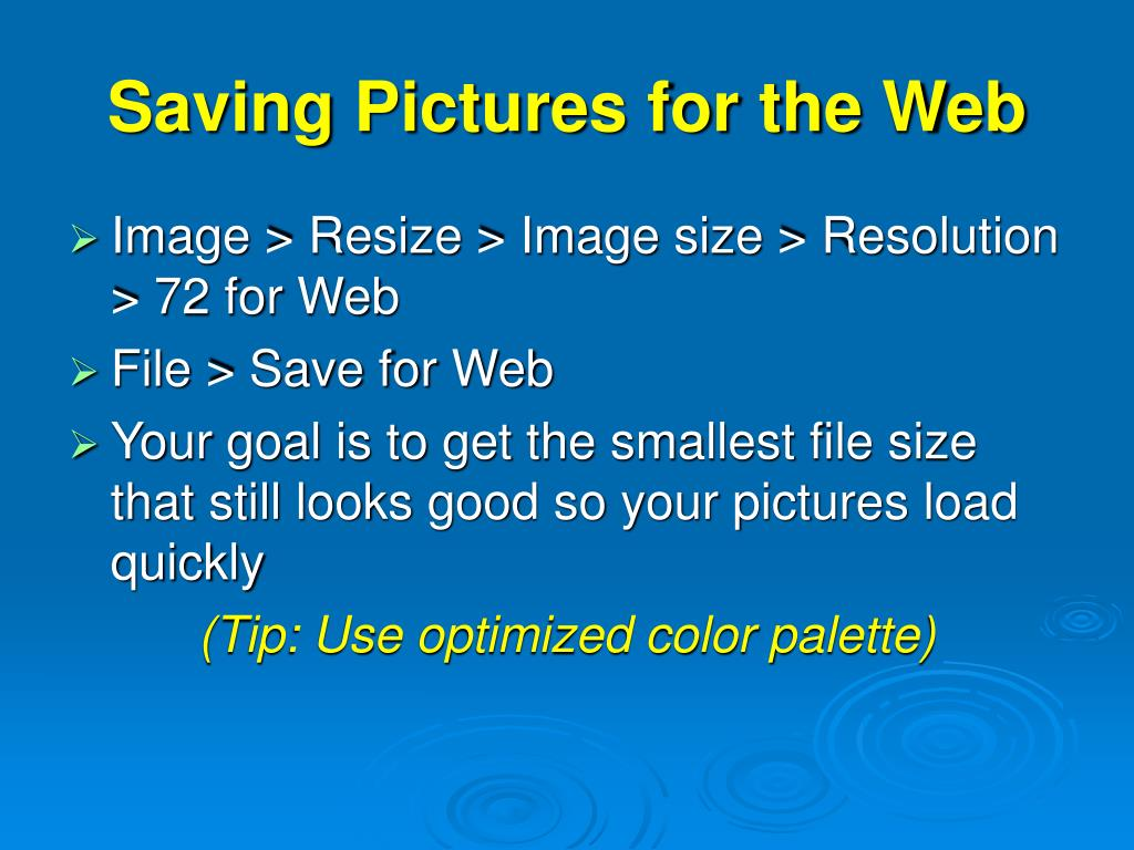 Saving Pictures for the Web