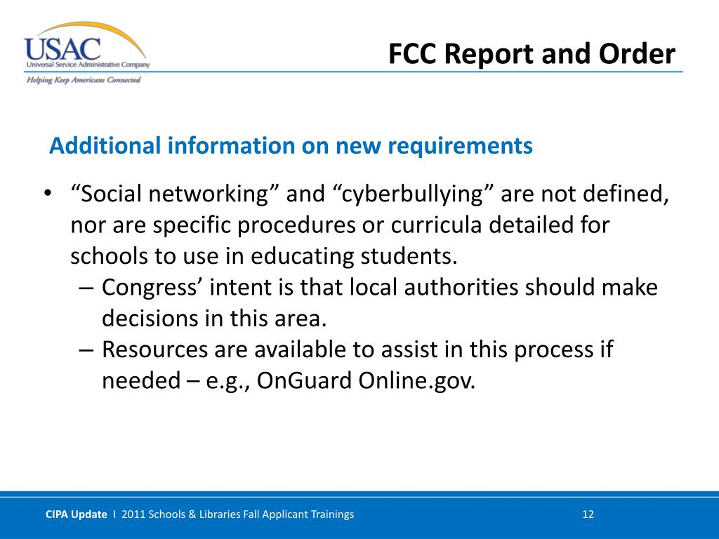 """""""Social networking"""" and """"cyberbullying"""" are not defined, nor are specific procedures or curricula detailed for schools to use in educating students."""