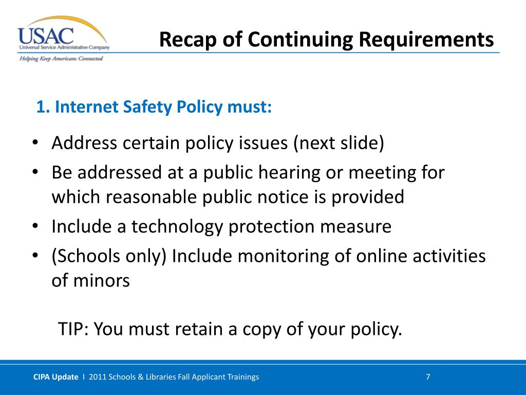 Address certain policy issues (next slide)