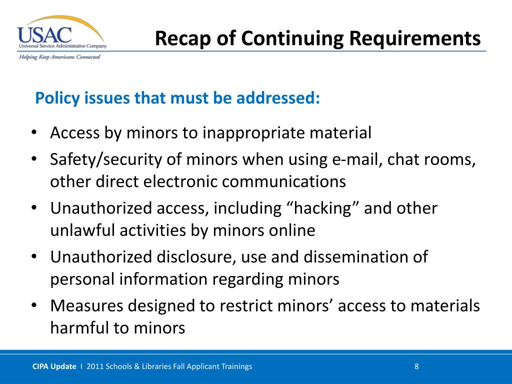 Access by minors to inappropriate material