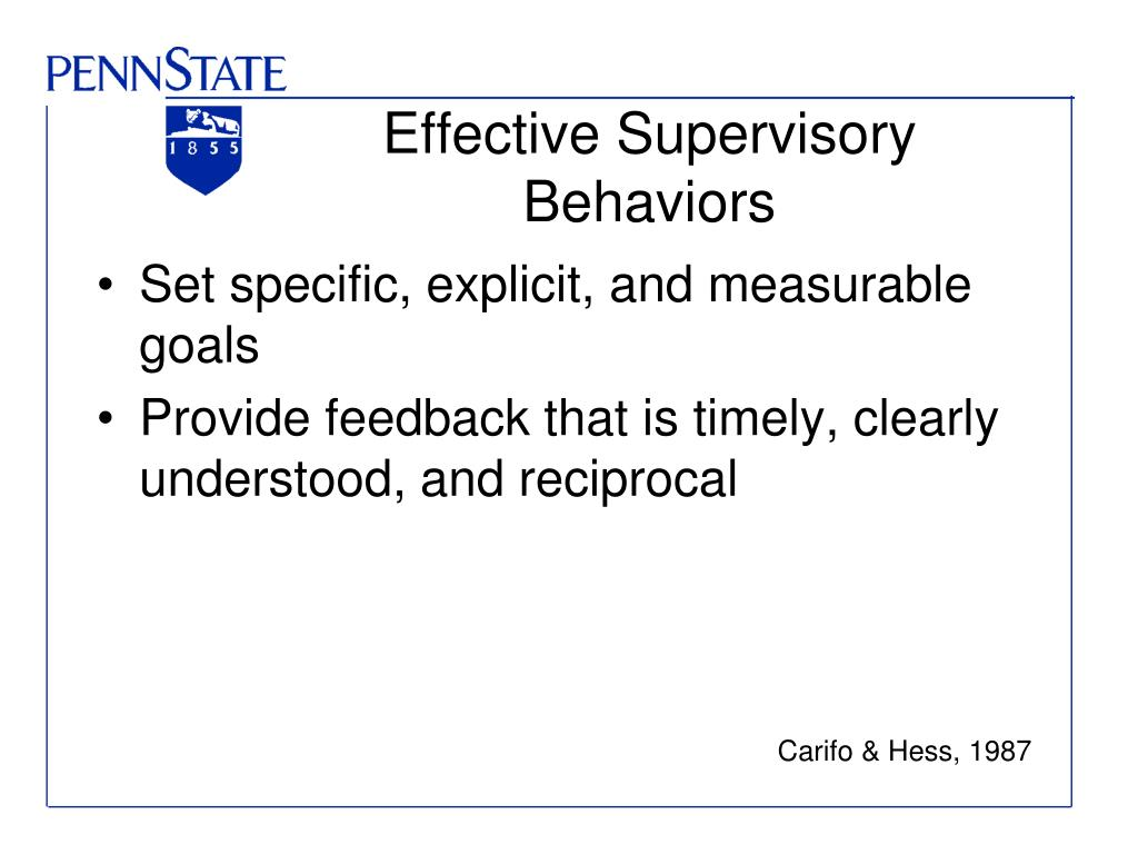 Effective Supervisory Behaviors